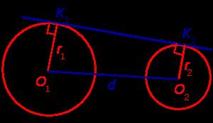 Формулы для длин общих касательных и общей хорды двух окружностей
