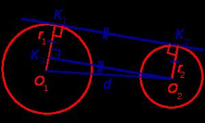 Доказательство формул для длин общих касательных и общей хорды двух окружностей